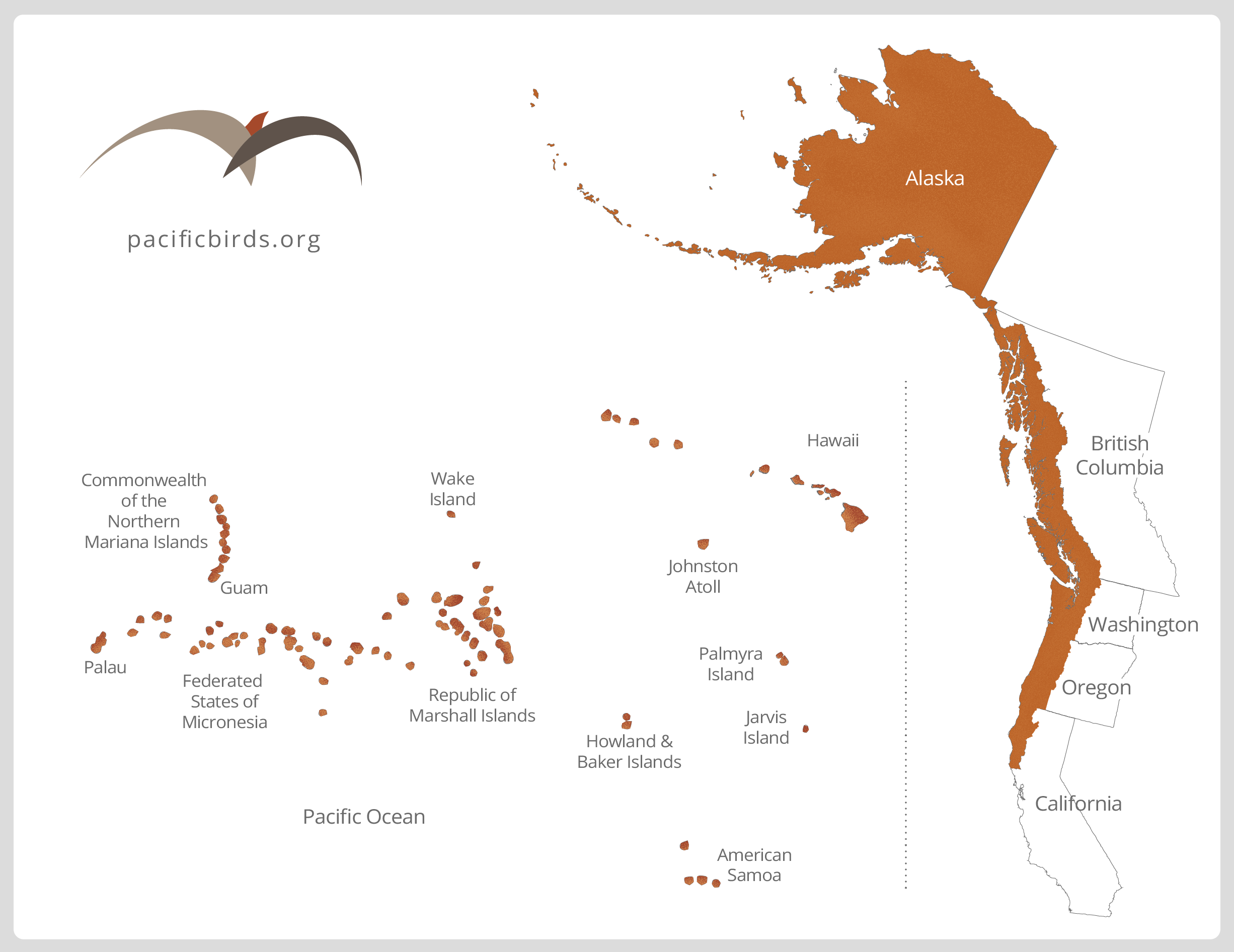Pacific Birds Joint Venture, Where We Work Map. Pacificbirds.org