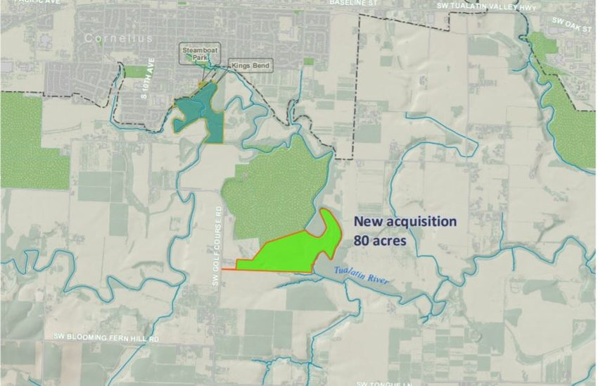 The newly acquired Atfalati South sits to the south of Cornelius. The Columbia Land Trust's 245-acre Atfalati Prairie is just above, in green.