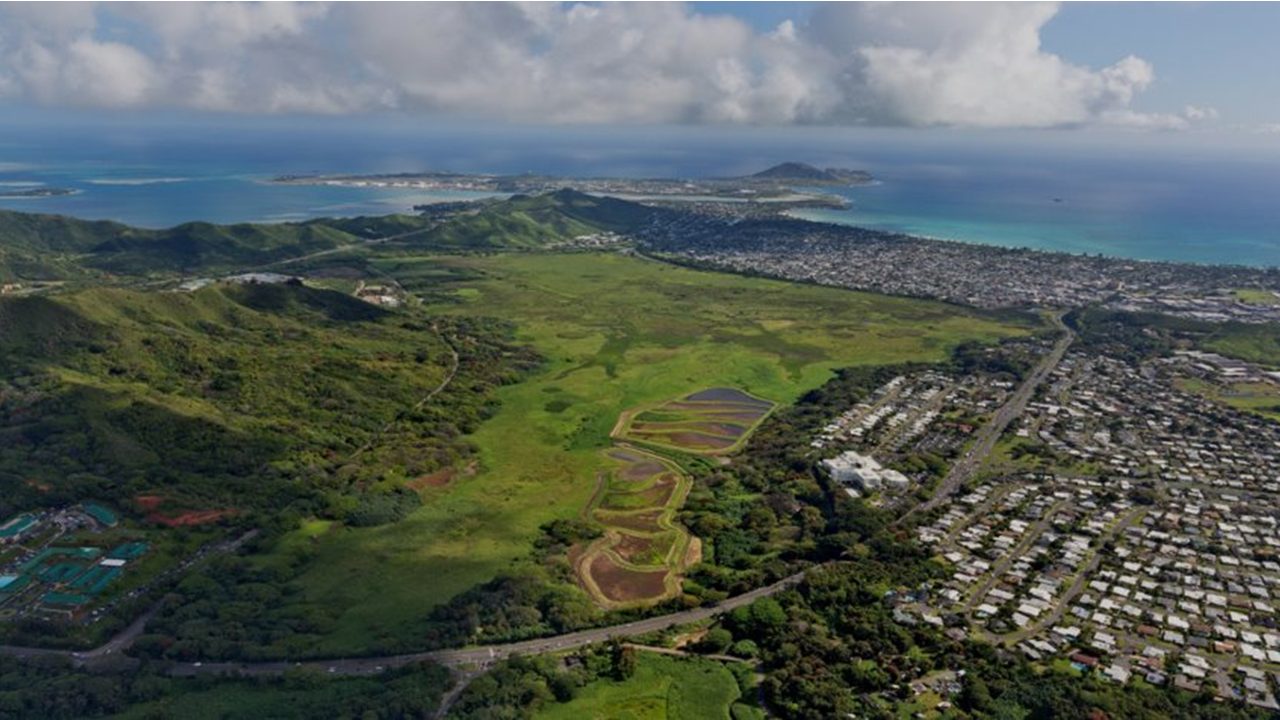 An aireal view of Kawainui Marsh<br>Photo courtesy of Hawaiʻi Department of Land and Natural Resources