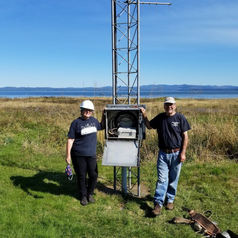 Kathleen Sayce and Frank Wolfe are the property owners at the new Willapa Bay MOTUS site.<br> Photo by Vanessa Loverti, USFWS