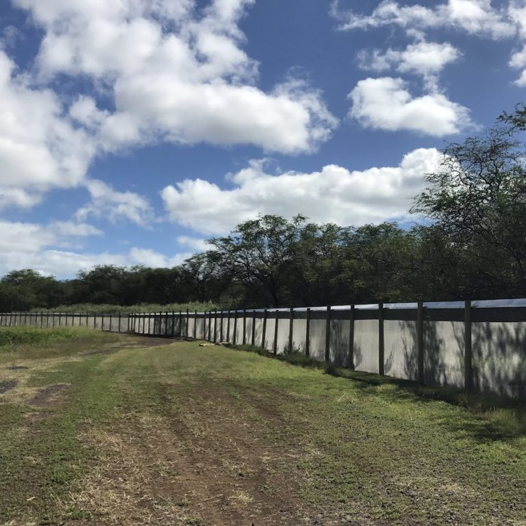 Predator fence at Pearl Harbor National Wildlife Refuge<br>Photo courtesy of Pacific Rim Conservation