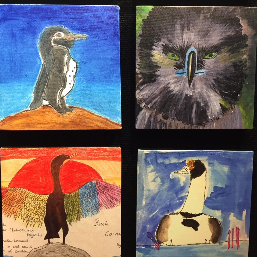 A small selection of the bird art in Silent Skies Student Mural Project.