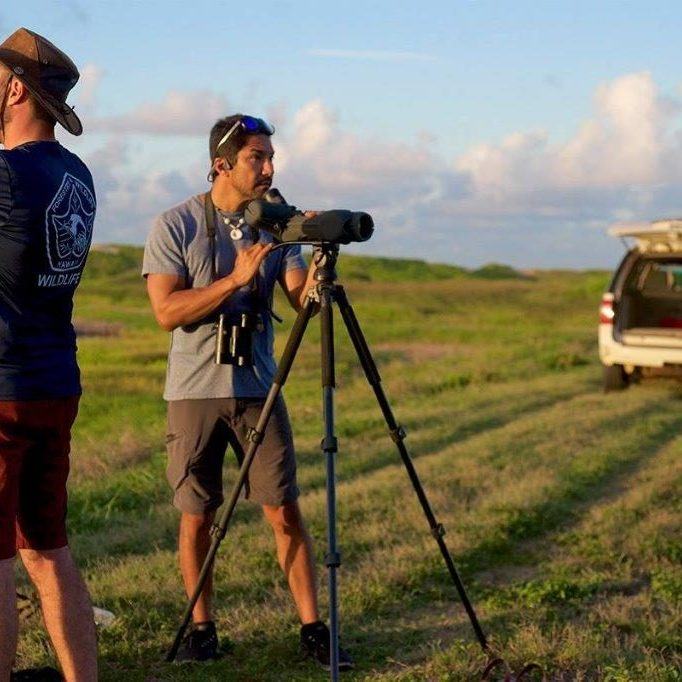 Javier Cotin and Luis Verdesoto looking for Pueo during a survey at James Campbell National Wildlife Refuge.<br> © Afsheen Siddiqi
